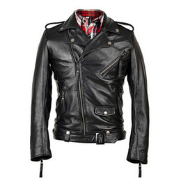 Wholesale cow leather jackets - Fall-Men Genuine Leather Jacket Real Calf Cow Skin Fashion Casual Star Style Punk Rock Motorcycle Biker Coat Winter