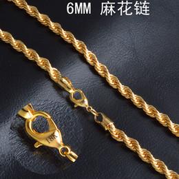 "Wholesale Gold Couple Necklaces - 6 mm*20"" Twist chain 18k gold plated necklace fashion personality sautoir Man woman gold couples necklace 2pcs lot retail"
