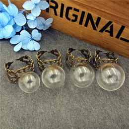Wholesale Antique Ring Base - handmade ring supply 14mm 16mm 18mm 20mm empty glass globe ball with antique bronze flower adjustable ring base Christmas decoration jewelry