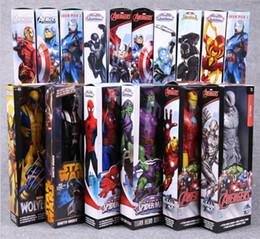 Wholesale Marvel Action Figure Wholesale - Avengers PVC Action Figures Marvel Heros 30cm Iron Man Spiderman Captain America Ultron Wolverine Figure Toys OTH025