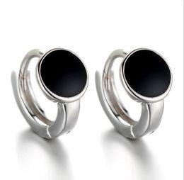 Wholesale Sterling Silver Hoop Earring Crystal - Black Hoop Earrings Korean Crystal Fashion Accessories Female High Quality Tremalla Ear Jewelry 925-Sterling-Silver Hoop Earrings