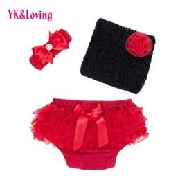 Wholesale Children Tube Tops - Summer Suit For Baby Clothing Girl 0-2t Newborn Bra Panties Crochet Mesh Boob Tube Top Bloomers Children clothes with headband Shorts 3Pcs