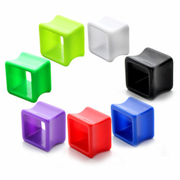 Wholesale Stainless Steel Body Jewlery - 7 pairs Ear plugs High Quality Square solid color Acrylic Body piercing Jewlery Skin Tunnel Plugs Hollow Ear stretcher