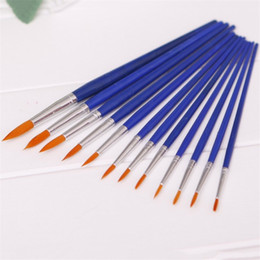 Wholesale Acrylic Paint Art Supplies - 12pcs pack Different Sizes Nylon Hair Paint Brush Set For Watercolor Acrylic Oil Painting Brushes Drawing Art Supplies