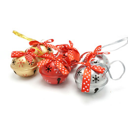 Wholesale Track Ribbons Free Shipping - Christmas product 6pcs 6 types red gold silvery metal jingle bell with dot ribbon for home 50mm*50mm*40mm free shipping <$18 no tracking