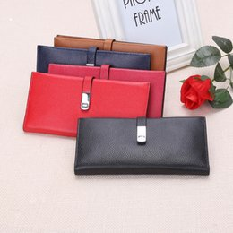 Wholesale Card Making Designs - Wholesale- New Brand Design Fashion Genuine Leather Women Purse Female Clutch Wallets Ladies pure Cowhide made 5 Colors Hasp purse 743