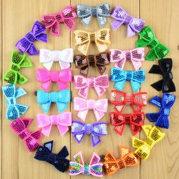Wholesale Crafts Glitter Ribbon - 100pcs  Lot New 37 Color U Pick 4cm Fashion Mini Glitter Sequin Bows Girl Headwear Diy Hair Ribbon for Sewing Craft Hair Accessories Hdj39