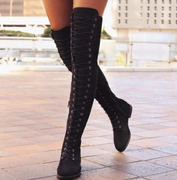 Wholesale Knee Length High Heels Boots - 2017 autumn winter new European and American fashion ladies fashion knee-length flat lace boots women's large size sexy nightclub suede boot