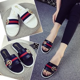 Wholesale Low Heeled White Sandals - Hot Summer New Women's wild side buckle low-heeled slippers flat stones with bottom cool slippers sandals word drag shoes