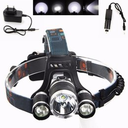 Wholesale Headlamp Head Torch - Super White LED Head Torch 3x CREE XM-L T6 Rechargeable LED Headlamp LED Headlight Outdoor Riding Lamp EU Plug