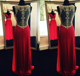 Wholesale Long Chiffon Robe - Robe De Soiree Red Deep V Neck Long Evening Dresses Sheer Back Beading Crystal Formal Occasion Party Dresses BA3951