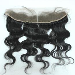 Wholesale Peruvian Wavy Lace Closure - 8A Grade Lace Frontals 13x2 Peruvian Hair Natural Wavy Full Lace Frontal Closure With Baby Hair From Ear to Ear Lace Top Frontal closure QHP