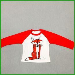 Laranja barata camiseta on-line-Bebê tops raposa impressão longo t-shirt preto verde orange cores vermelhas o-pescoço crianças casuais esportes tracksuits t-shirt baratos frete grátis