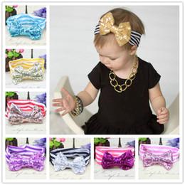 Wholesale Big Strips - Baby girls headbands Big Bows Kids sequined bowknot Hairbands Children Striped cotton headbands Handmade baby Strip Hair Accessories KHA261