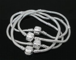 Wholesale European Charm Bead Chain - Free Shipping! 4 PCs Silver Plated Snake Chain Bracelets Fit European Charm Beads 17cmx3mm (B04346) charm bracelet beads