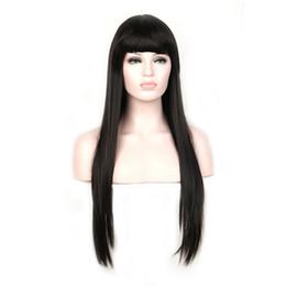 Wholesale womens bangs - Womens wigs long straight wig bangs long blonde burgundy brown cosplay heat resistant synthetic hair black women