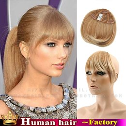 Wholesale Hair Bangs Extensions - Wholesale-Free shipping-high quality hair New Fashion Girls Front Neat Bang Fringe 100% Hair Extensions blond #613 Flat bang