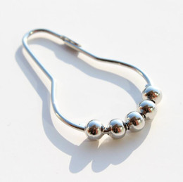 Wholesale Polished Nickel Curtain Rings - Fashion Hot Polished Satin Nickel 5 Roller ball Shower Curtain Rings Curtain Hooks Free Shipping 100pcs