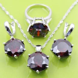 Wholesale Garnet Wedding Rings - New Arrival 925 Silver Jewelry Sets For Women Red Garnet Earrings Pendant Necklace Rings Free Jewelry Box