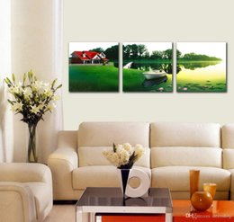 Wholesale House Picture Frames - Modern Beautiful Country House In Sunset Giclee Print On Canvas Wall Art Home Decoration Set30207
