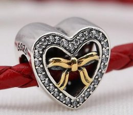 Wholesale Bracelet Binding - 2016 new mother's day charms Authentic 925 Sterling Silver beads with cz Bound By Love gold plated Fits for Pandora Bracelets DIY Jewelry