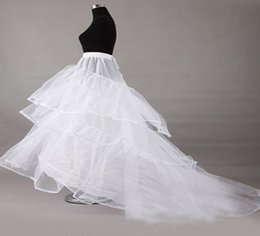 Wholesale Long Train Underskirt Bridal - In Stock! New Long Train Wedding Dresses 3-hoops Petticoat Underskirt crinoline Underdress Slip cheap Bridal Petticoats 2016 Wedding access