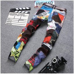 Wholesale Mens Bike Pants - Famous Brand Pants Personality men's Patchwork Fashion famous Brand clothing Mens Jeans homme Ripped Jeans warm men Bike jean
