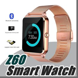 Wholesale Smart Watch Steel - 20X Bluetooth Smart Watch Phone Z60 Stainless Steel Support SIM TF Card Camera Fitness Tracker GT08 DZ09 Smartwatch for IOS Android N-BS