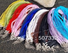 Wholesale Waxed Cord Ribbon Necklace - Free Shipping!! 100pcs Organza Wax Necklace Ribbon Cord Strap Chain Assorted color CC006