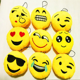 Wholesale Cheap Stuff Free Shipping - FREE shipping 120pcs lot Newest Cheap 10CM Emoji Keychains Soft Round Stuffed Plush Keyrings with Phone Straps