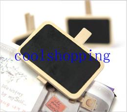 Wholesale Wood Clip Mini Blackboard - Wood Cute Mini Blackboard Clip On Message Small Chalkboard Wooden Photo Notes Clip Stationery