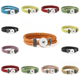 Wholesale Leather Gift Boxes Wholesale - Pack Of 24pcs Ginger 9 Color Removable Leather Braided Bracelets NOOSA Snap Button Bracelets Fit Snaps Interchangeable Jewelry E650E