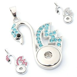 Wholesale White Metal Swan - Ginger NOOSA Pendants Hollow Swan Metal Fit 18mm Snap Button Necklace With Rhinestone Crystal DIY Interchangeable Jewelry 100pcs E770E