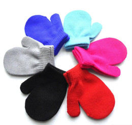 Wholesale Babies Knitted Mittens - 6 Colors Cute Baby Kids Boys Girls Unisex Knitting Warm Soft Gloves Candy Colors Mittens children boys Girls Mittens Unisex Gloves