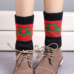 Wholesale Free Boot Pattern - Wholesale-Free DHL 2016 Christmas Women Leg Warmers Fashion Wapiti Pattern Women Knit Winter Boot Cuffs Polainas Calentadores Piernas 2149