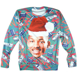 Wholesale Fresh Hoodies - Wholesale-3D hoodies Fashion Fresh Prince Crewneck Sweatshirt Will Smith With Christmas hat Sweats Sport Pullover Tops For Women Men