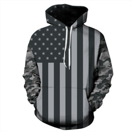 Wholesale Patterned Paint - Fashion Long Sleeve Grey American Flag Pattern 3D Painted Hoodie