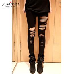 Wholesale Strech Leggings - Wholesale- SEBOWEL 2017 Basic Strech Holes Ripped Leggings Women Punk Rock Fashion Black High Waist Leggings Casual Jeggings Legins