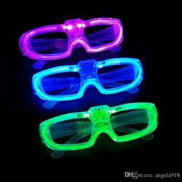 Wholesale Halloween Pvc Props - 2016 Halloween New Led Cold Light Glasses EL Wire Glowing Flash Glasses Flashing Glasses Fluorescence Party Glasses DJ Party Props E1325