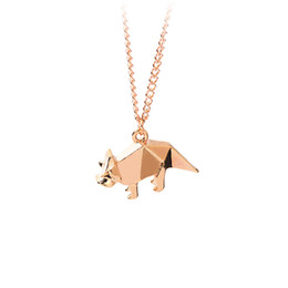 Wholesale Origami Love - Origami Pet Dog Pendant Necklace Women Men Dog Owner Sweater Chain Rose gold Silver Cool Minimalist Creative Animal Jewelry