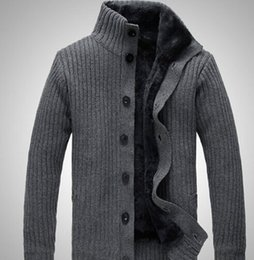Wholesale Gray Cardigan Sweater Men - Wholesale-2015 latest blue black grey brown 4 colors men's stone cardigans for men, Knitwear, SI sweater, Free shipping!!!