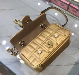 Wholesale Red Pearl Golden - Hotsale brand new top quality women advanced genuine leather pearls flap golden brass chain handbag Shoulder Bag tote purse G010