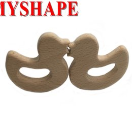 Wholesale Tooth Holders - Baby Teether Toys Tooth Molar Scent-free Food Grade Duck Baby Teething Toy Organic Eco-friendly Wood Teething Holder Nursing Baby Teether