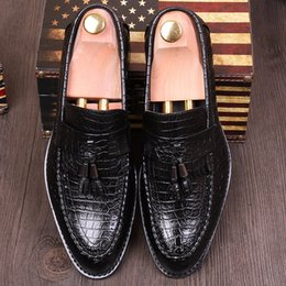 Wholesale Boys Fashion Dress Shoes - Italian Fashion Crocodile Texture Leather Dress Shoes Mens Slip-on Oxfords Tassel Shoes Pointed Toe Business Shoes For Tide Boys & Noble Man