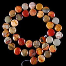 Wholesale Natural Purple Jasper Beads - free shipping natural beautiful Jewelry NEW 1 Strand 12mm Multicolor Picasso Jasper Gem Coin Loose Bead 15''