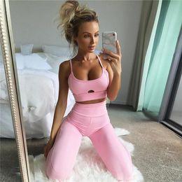 Wholesale Long Workout Tops - 2017092231 Workout 2 pieces Set Women Pink Hollow Crop Top High Waist Elastic Leggings Pants Tracksuit Sporting Set