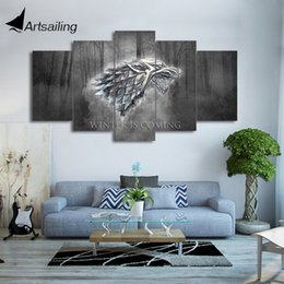 Wholesale Paintings Games - HD printed 5 piece canvas art winter Game of Thrones wolf painting wall pictures for living room modern free shipping CU-2004B