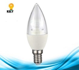 Wholesale E14 Candle Dim - 5W E14 E27 E26 B22 C37 H110mm LED candle plastic+aluminum tip lamp clear pc cover light 270degree Dimmable or non-dim
