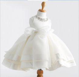 Wholesale Lolita White Wedding Dress - High Quality Girl Princess Dress 2016 New White Lace Gauze Party Dresses Children Clothing Baby Girls Big Bowknot Lace Wedding Dress Retail