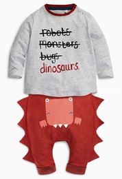 Wholesale Dinosaur Pants - Baby Boys Clothing Sets 2016 New Autumn Halloween Baby Clothes Long Sleeve Letter T shirt Dinosaur Casual Pants Suit free shipping